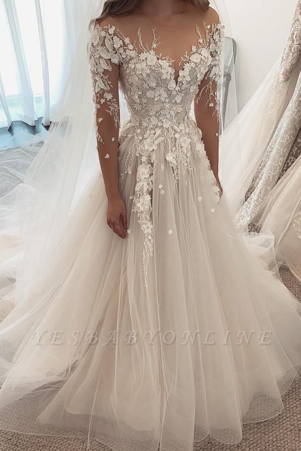 Beautiful White Lace Wedding Dresses Long Sleeves