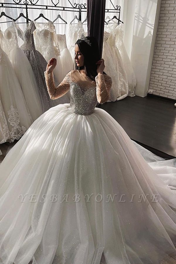 A Line Glitter Sequins Long Sleeves Ball Gown Bridal Gowns