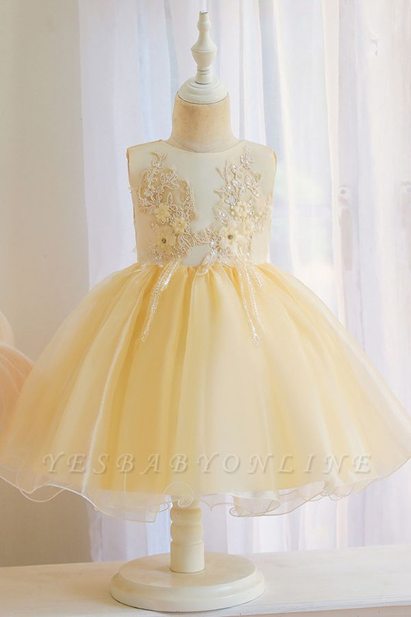 Sweet Jewel Tulle Flower Girls Dresses With Appliques