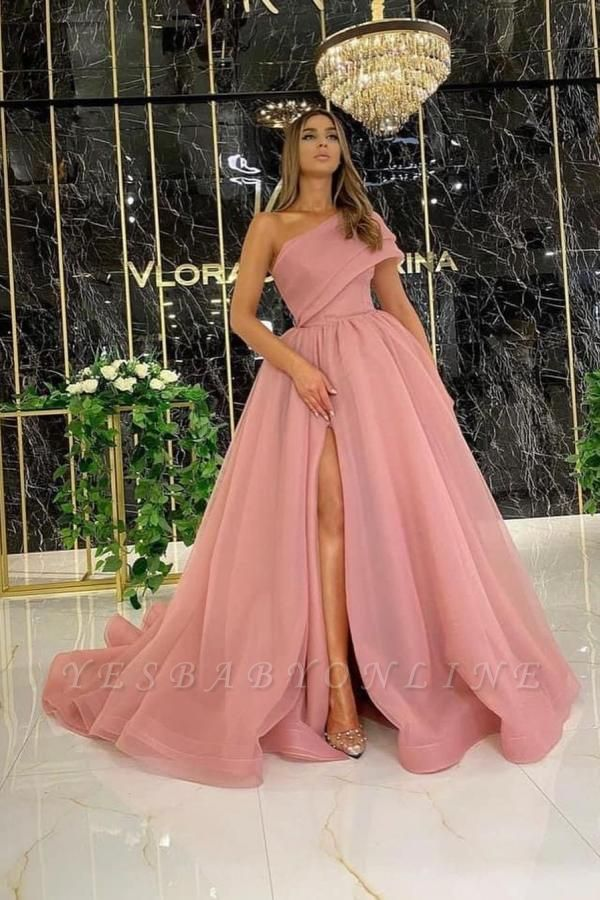 One Shoulder Tulle Dusty Pink Ruffles Prom Dresses Floor-length
