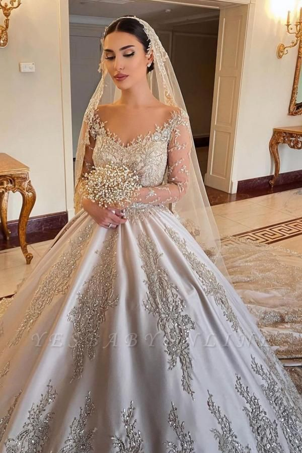 Elegant Long Sleeves Champagne Lace Wedding Dresses Long