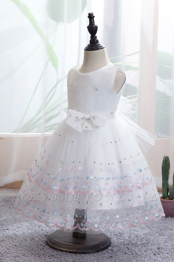 Sweet White Sleeveless Sequins Flower Girls Dresses With Bowknot