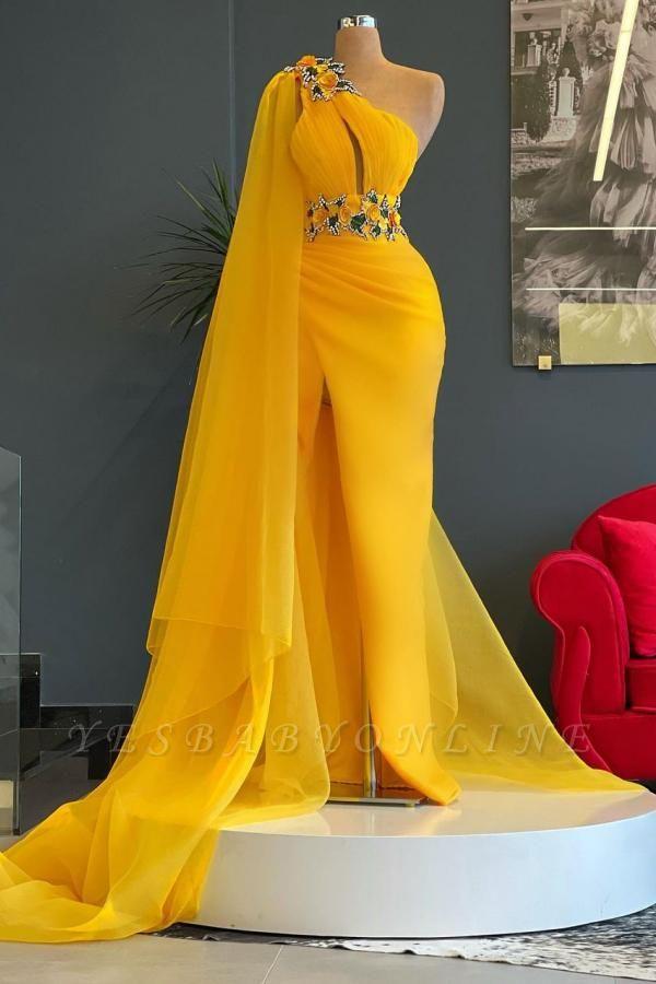 Luxury One Shoulder Yellow Tulle Ruffles Mermaid Prom Dresses