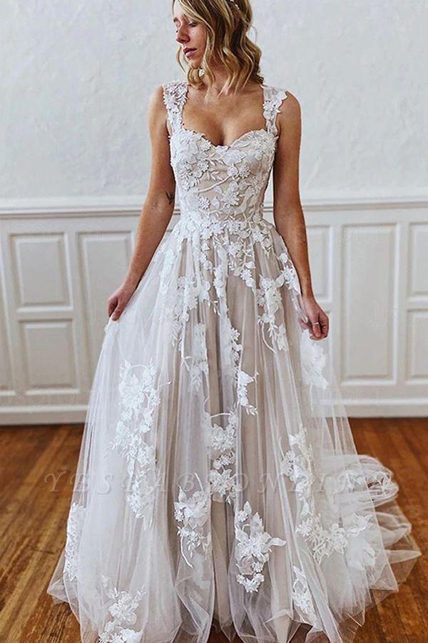 A Line Sweetheart Straps 3D Floral Lace Wedding Dress