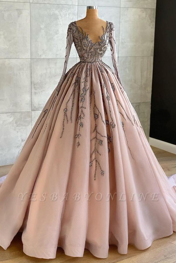 Luxury Long Sleeves Tulle Ruffles Nude Pink Prom Dresses