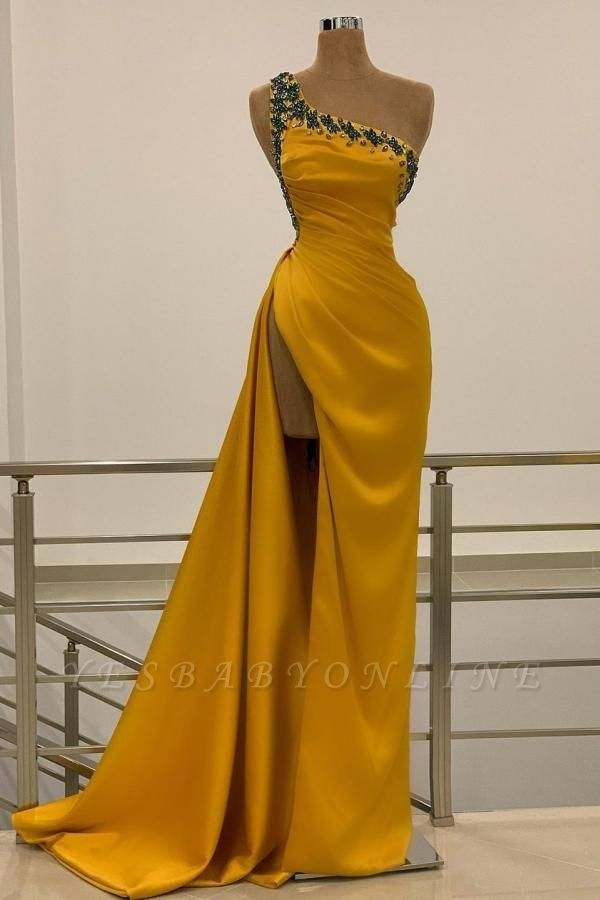 Sexy One Shoulder Mustard Beading Mermaid Prom Dresses Split