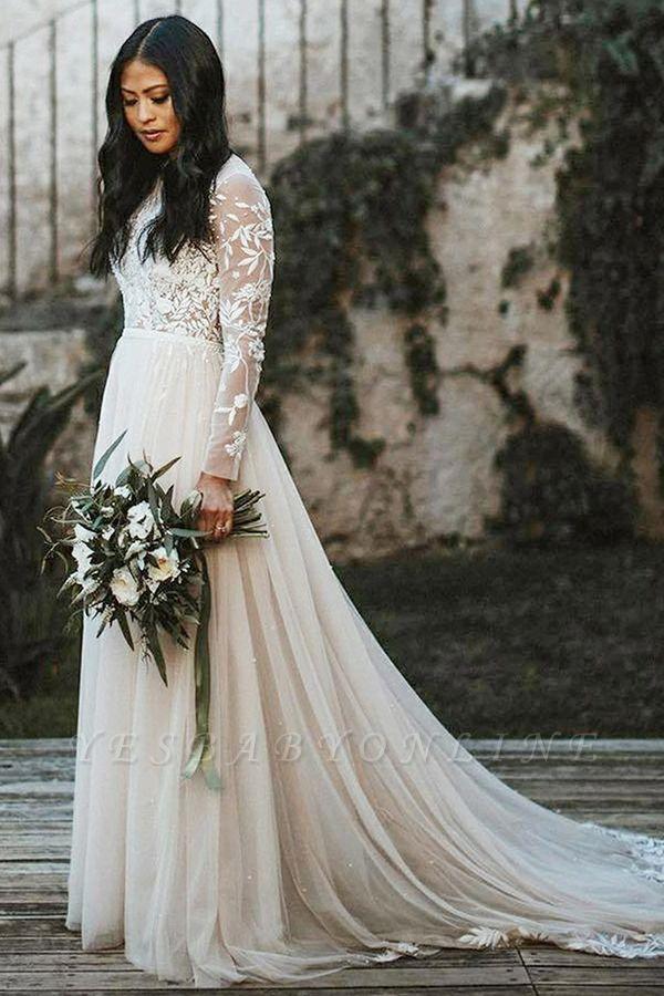 Floor Length Long Sleeves Wedding Dress Chiffon Bridal Gown