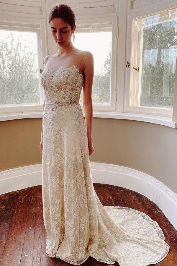 Elegant White Sleeveless Wedding Dresses With Lace Appliques