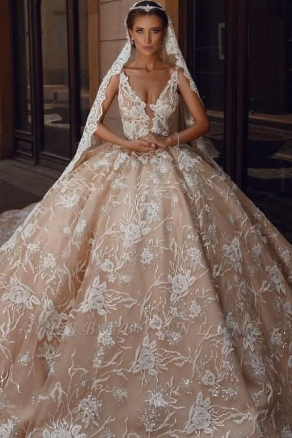 Floral Sleeveless V Neck Cathedral Train Nude Pink Wedding Dresses With Lace Appliques