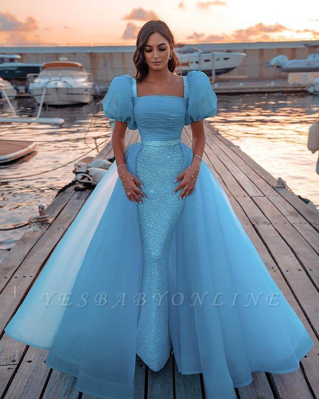 Sexy Short Sleeves Mermaid Square Sequin Chiffon Prom Dresses