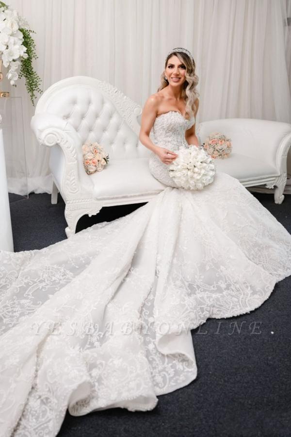 Elegant Sleeveless Sweetheart Mermaid Wedding Dresses With Lace