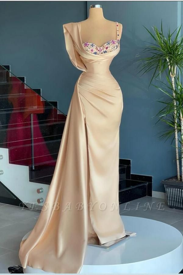 Vintage Spaghetti Straps Satin Ivory Mermaid Prom Dresses With Beading