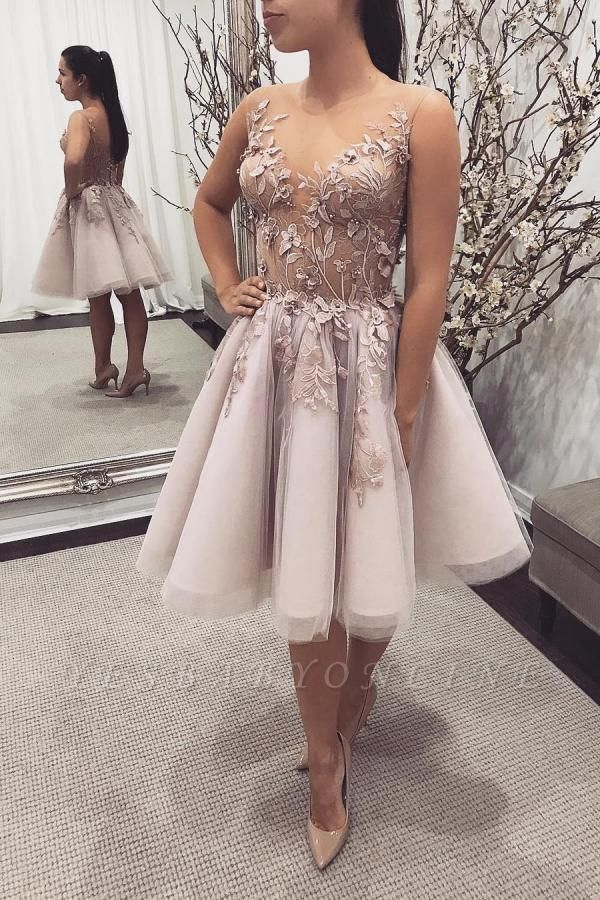 Gorgeous Sleeveless Pearl Pink Tulle Knee-length Prom Dresses With Pearls