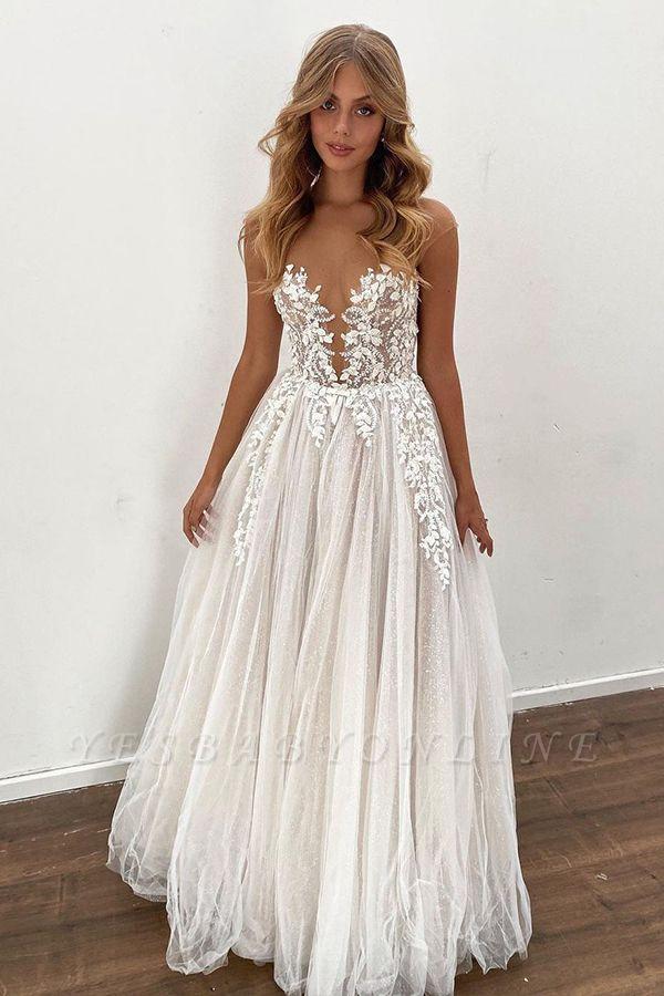 Glamorous Sleeveless White Lace Wedding Dresses Long