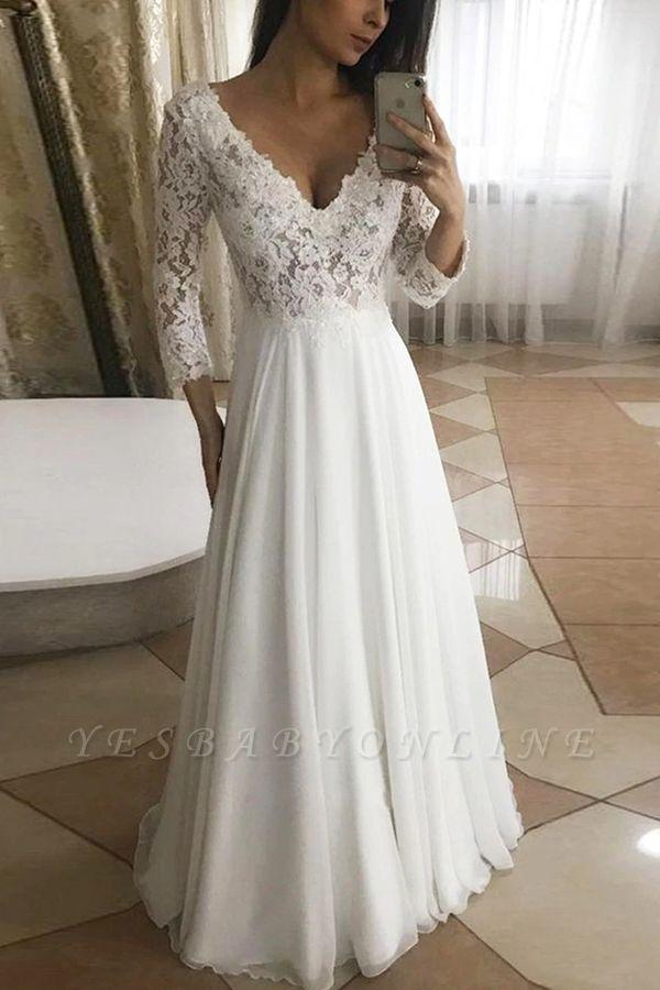 Elegant V-Neck Long Sleeves Lace Wedding Dresses Garden Bridal Dress