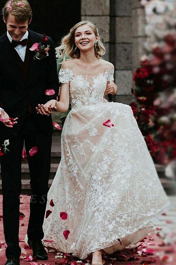 Princess Off Shoulder Floral Lace White Bridal Gowns
