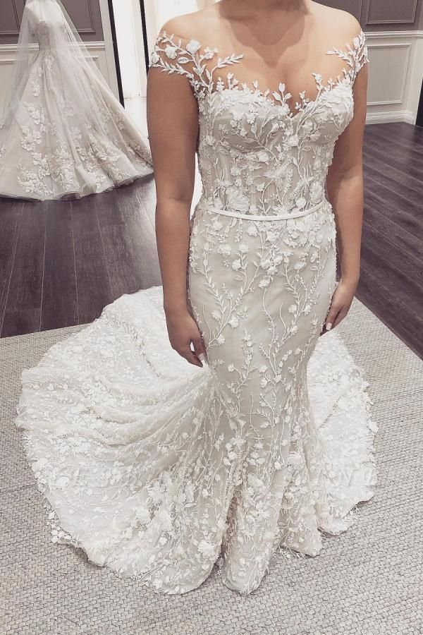 Elegant Off The Shoulder Tulle Lace Mermaid Wedding Dresses