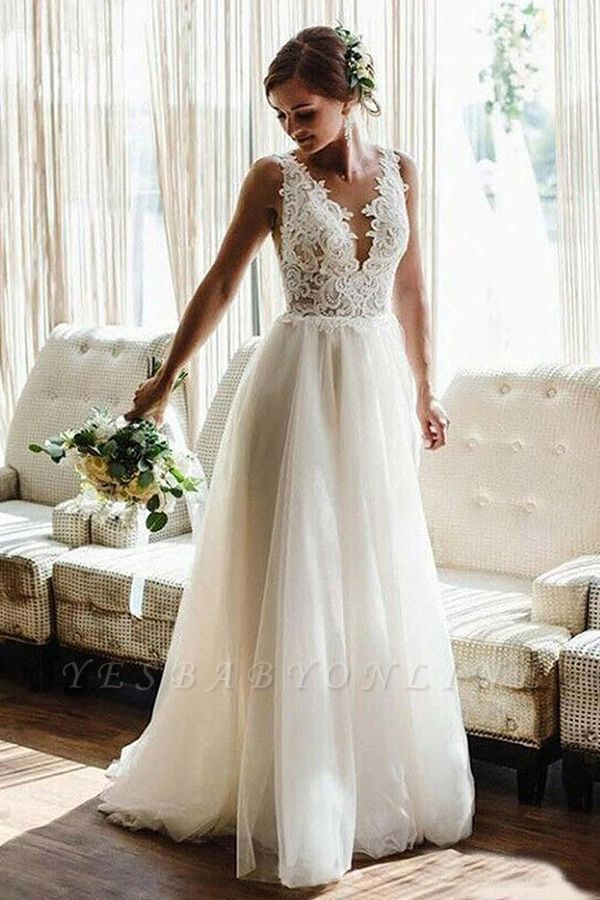 A Line White V-Neck Lace Tulle Bridal Dress Beach Wedding Dress