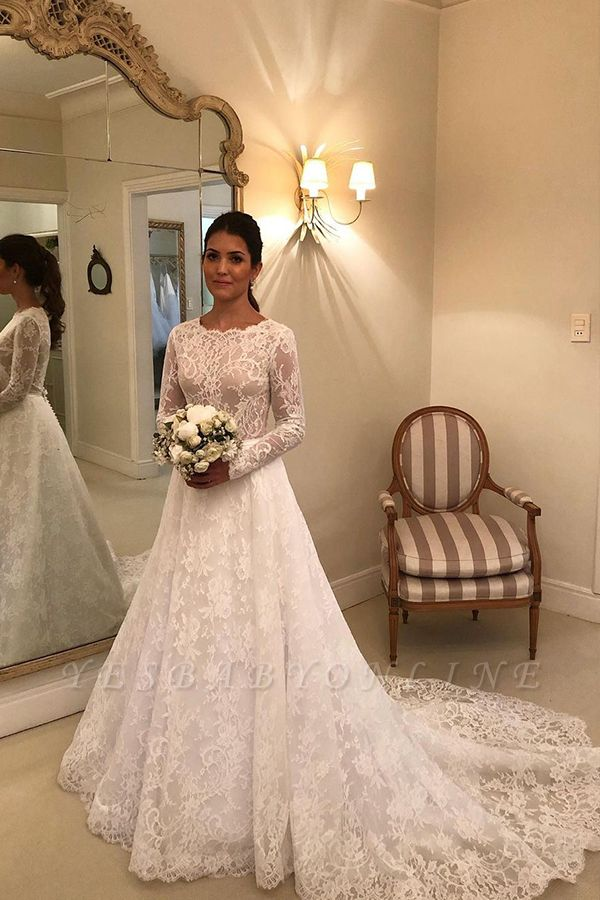 Graceful Jewel Long Sleeves Lace Wedding Dresses With Bow