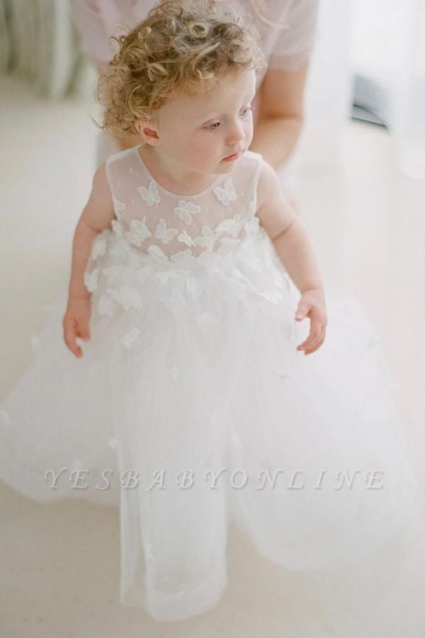 Cute White Jewel Flower Girls Dresses With Lace Appliques