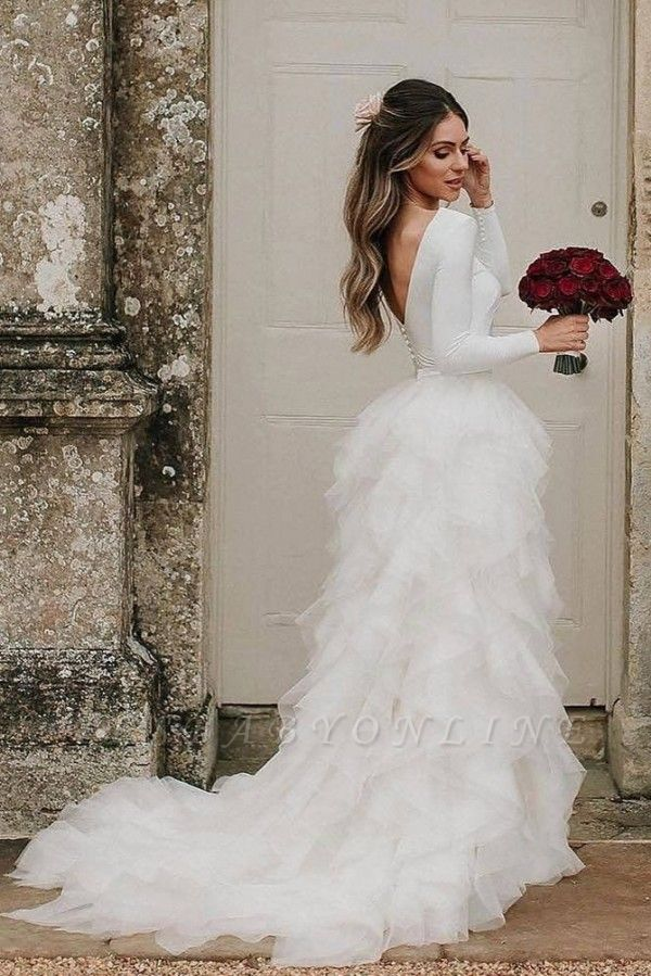 Gorgeous Sheath Jewel Tulle Ruffles Wedding Dresses With Long Sleeves