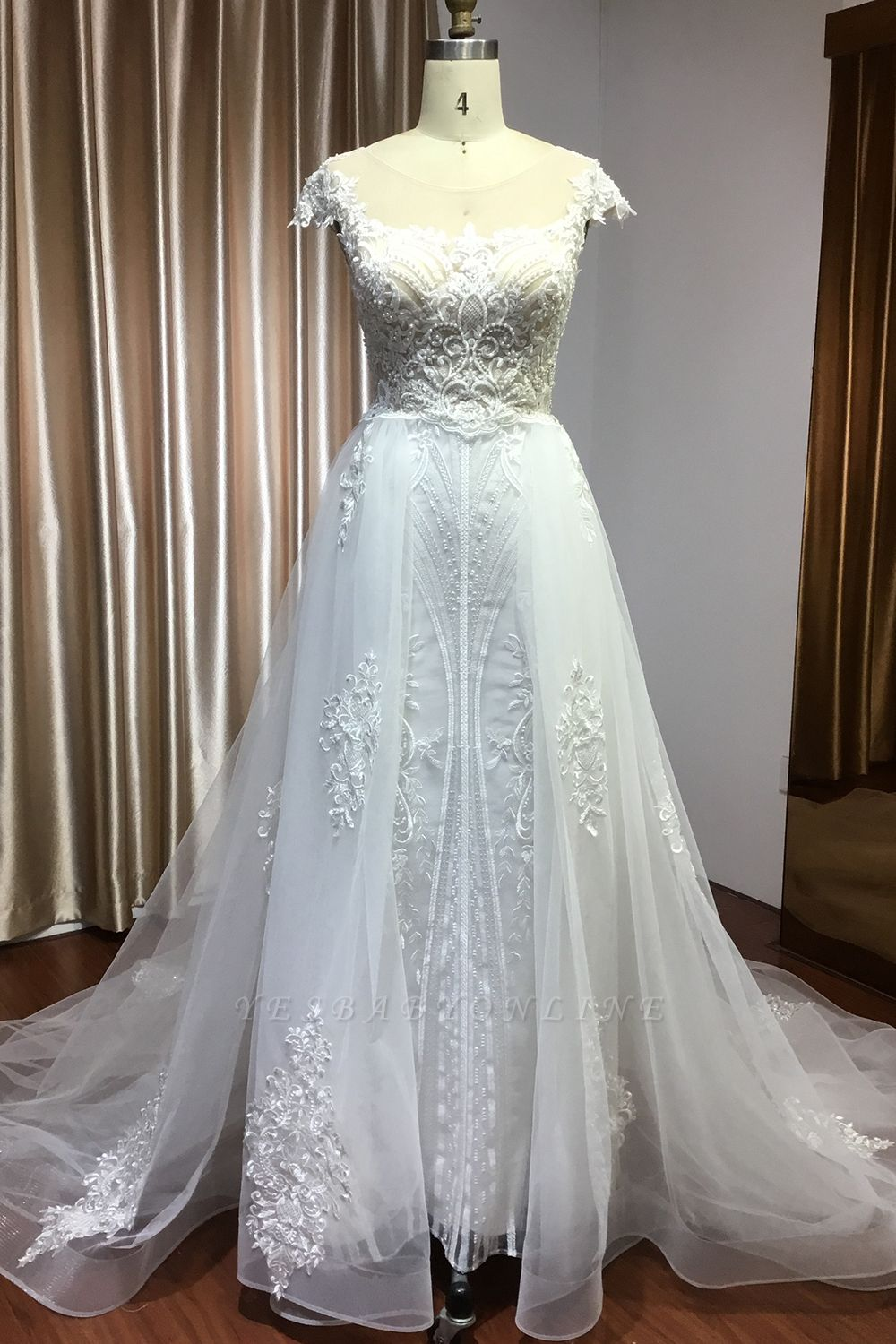 Sleeveless Tulle Lace Beading Sheath Wedding Dresses With Detachable Train