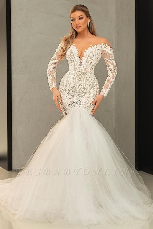 Sexy Sweetheart Long Sleeves Mermaid Wedding Dresses With Lace Appliques