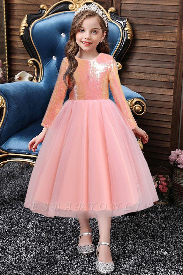 Princess Long Sleeves Sequins Flower Girls Dresses Ankle-Length