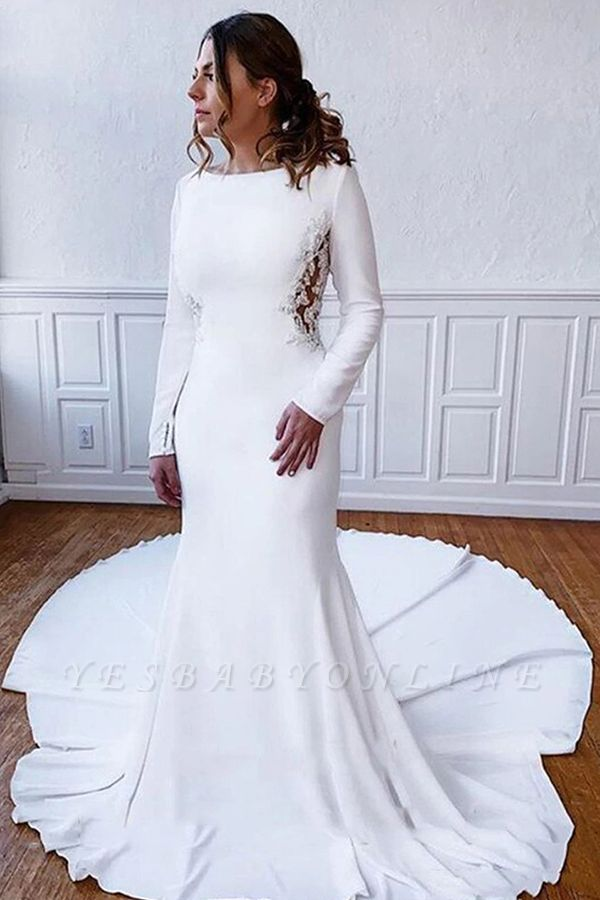 Floor Length Bateau White Wedding Reception Dresses Long Sleeves