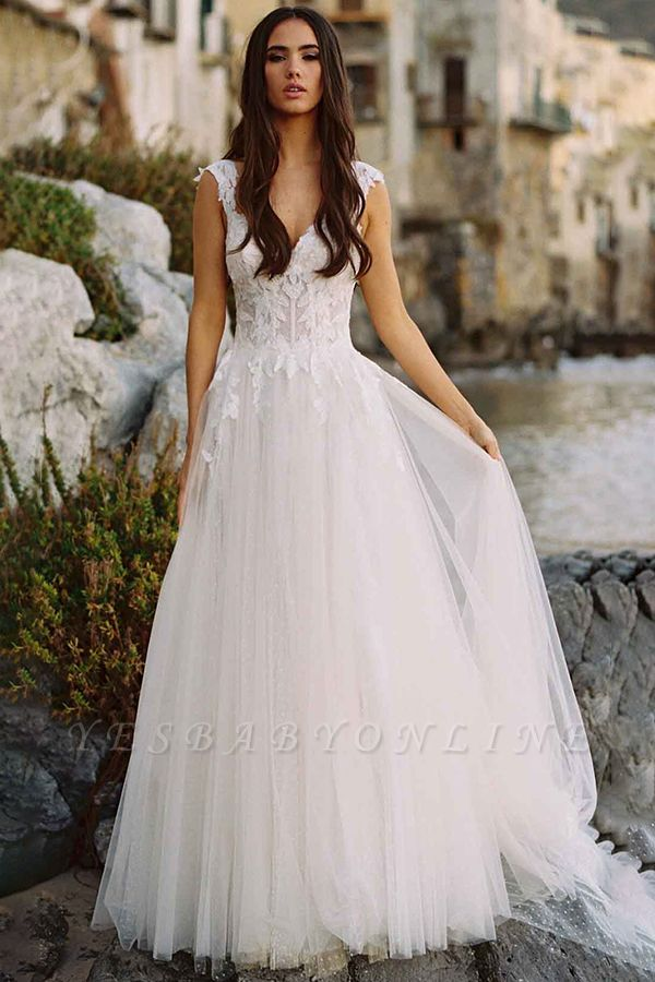 V-Neck Tulle Sleeveless Floral Lace Wedding Dresses