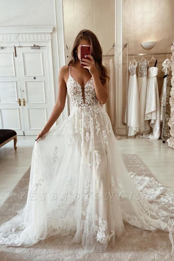 Elegant Spaghetti Straps White Long Wedding Dresses With Lace Appliques