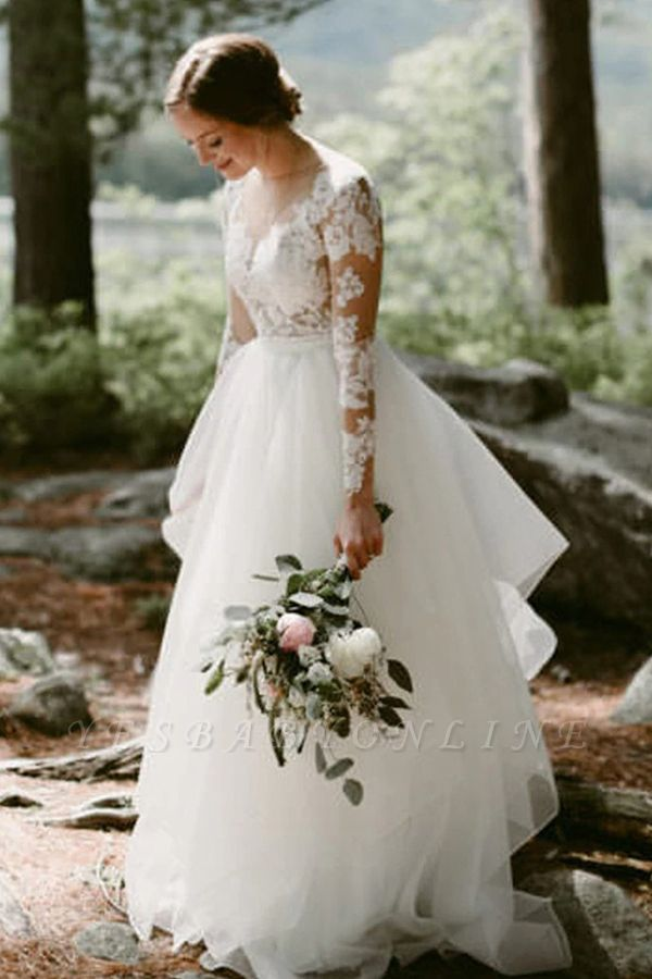 Charming Long Sleeve White Floral Lace Wedding Dress Tulle