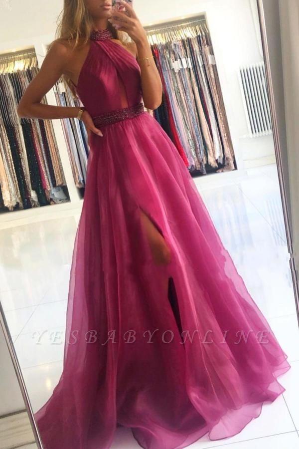 Gorgeous Halter Fuchsia Split Prom Dresses Long