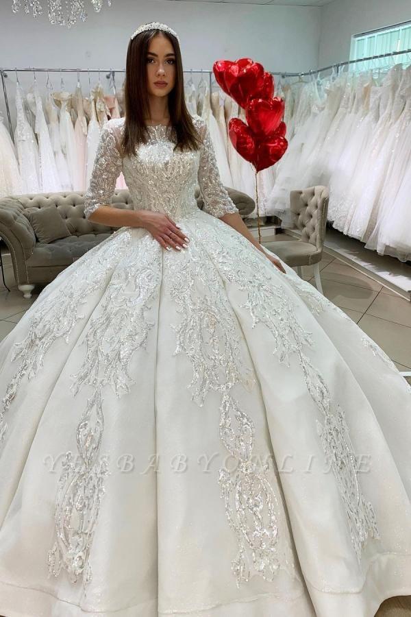 Princess Half Sleeves Jewel Satin Wedding Dresses Ball Gown