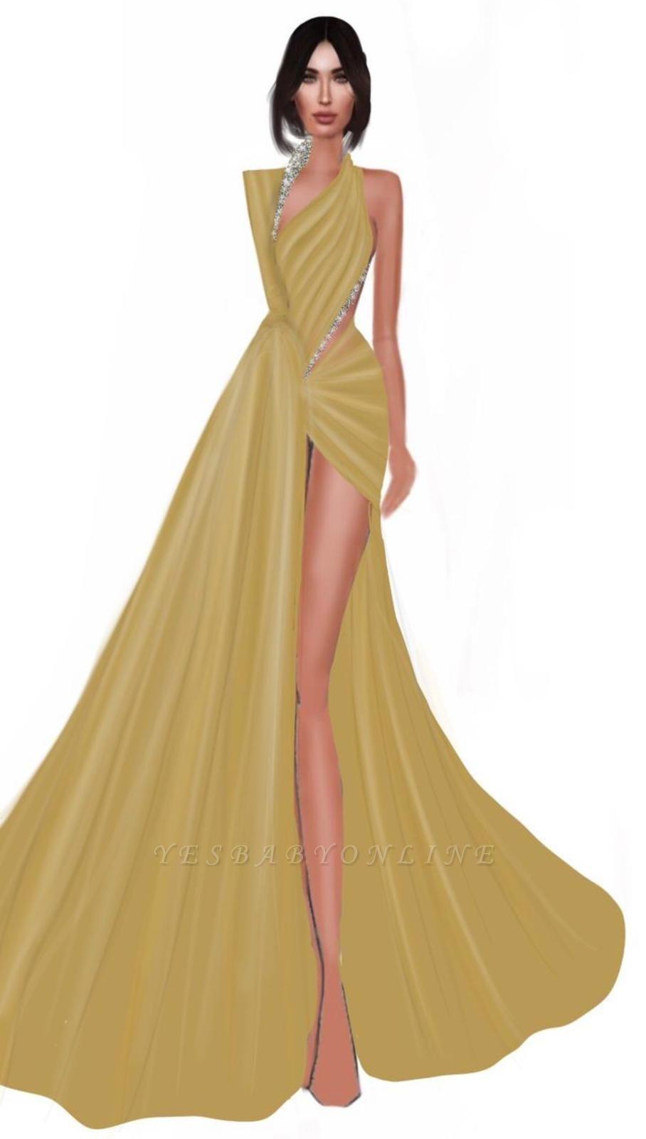 Shining V-Neck Side-Slit Mermaid Beaded Gold Prom Dresses