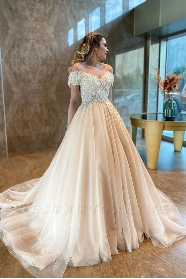 Off The Shoulder Sweetheart Tulle Champagne Wedding Dresses With Lace