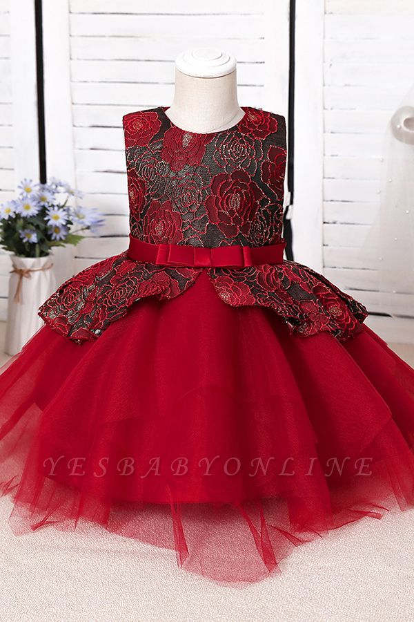 Cute Jewel Polyester Sleeveless Flower Girls Dresses With Bowknot