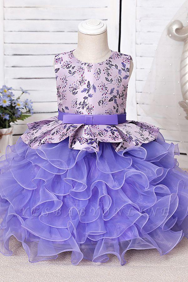 Jewel Sleeveless Print Flower Girls Dresses Ball Gown