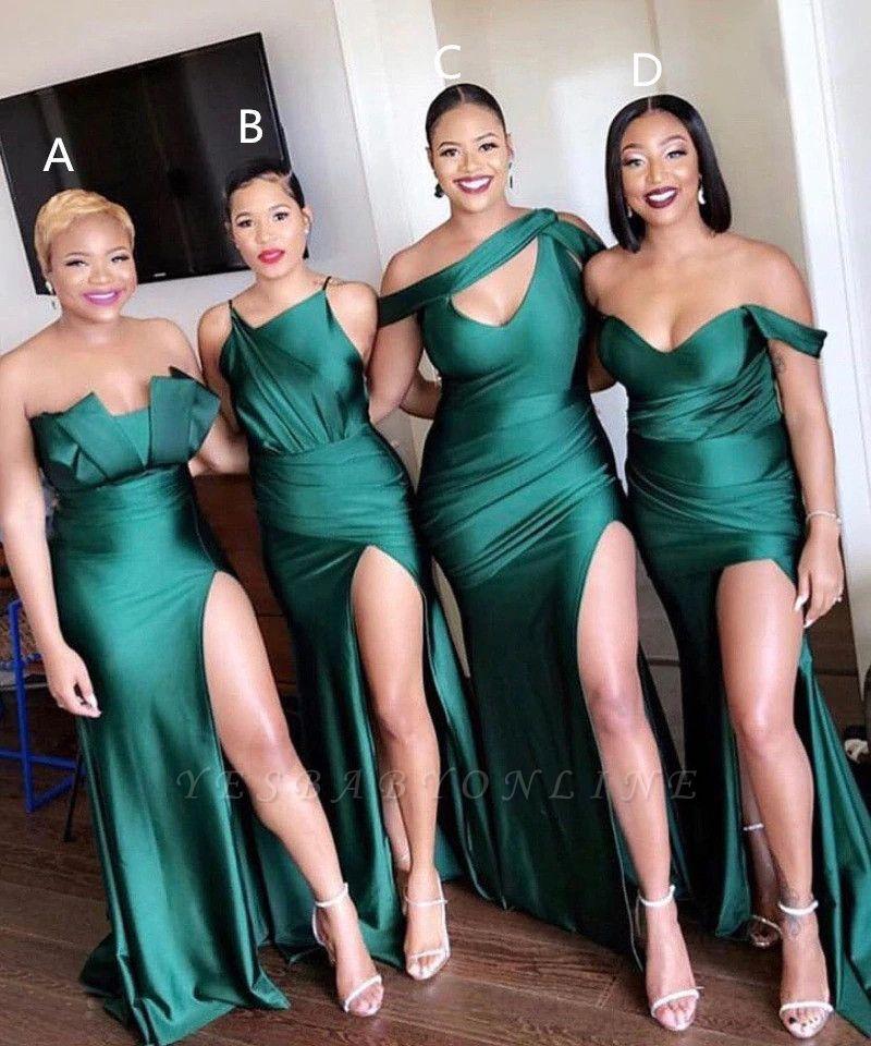 Off-the-shoulder Strapless Emerald Green Elastic Satin Long Bridesmaid Dress