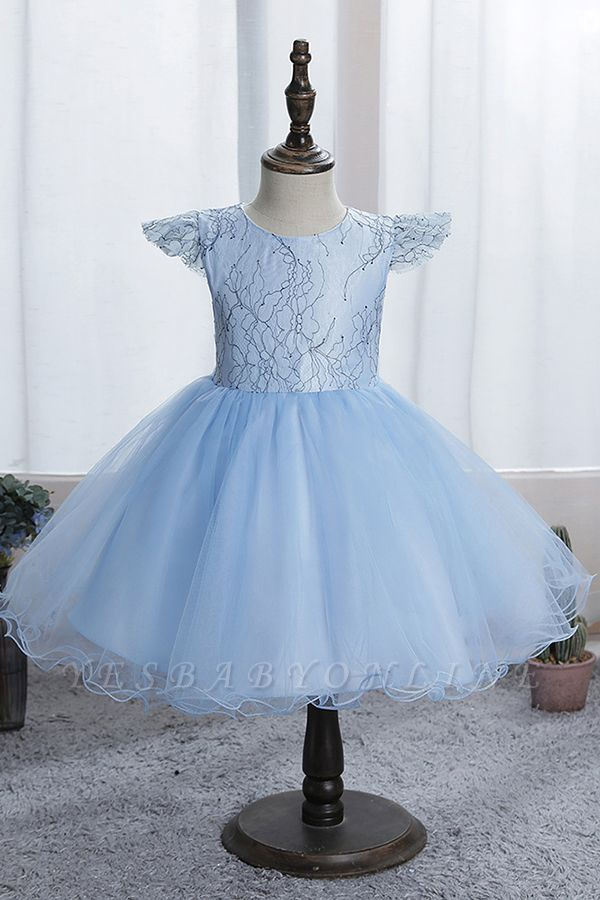 Cute Short Sleeves Sky Blue Flower Girls Dresses With Appliques
