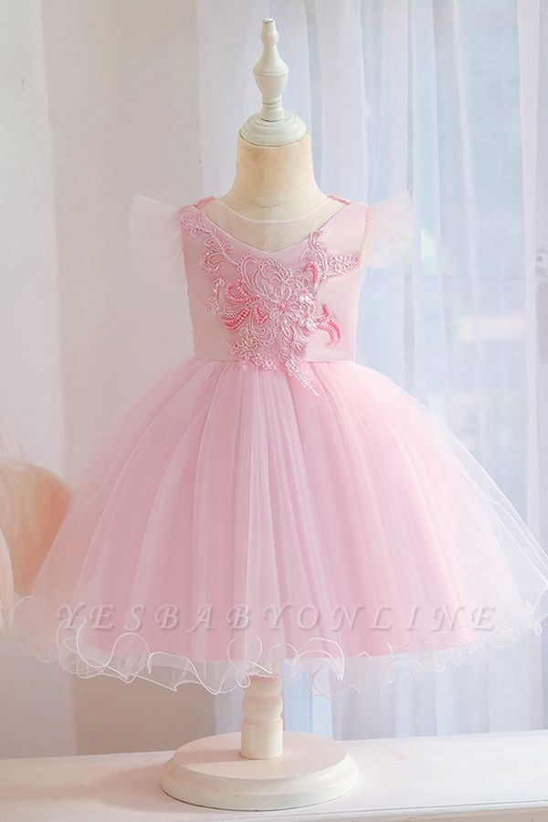 Princess Short Sleeves Beading Flower Girls Dresses With Bowknot