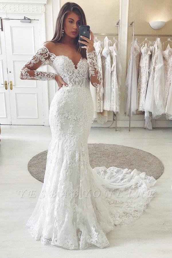 Off The Shoulder Long Sleeves Sweetheart Lace Mermaid Wedding Dresses