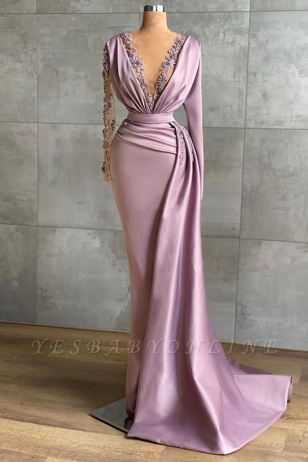 Luxury Floor-length Light Purple Ruffles Mermaid Prom Dresses With Long Sleeves