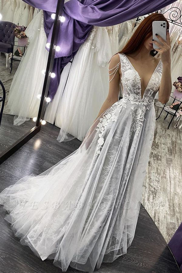 Sexy V-Neck Floral Lace Sleeveless A Line Wedding Dresses