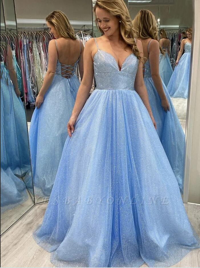 Glittery Spaghetti Straps Light Blue Lace Sequins Evening Dresses