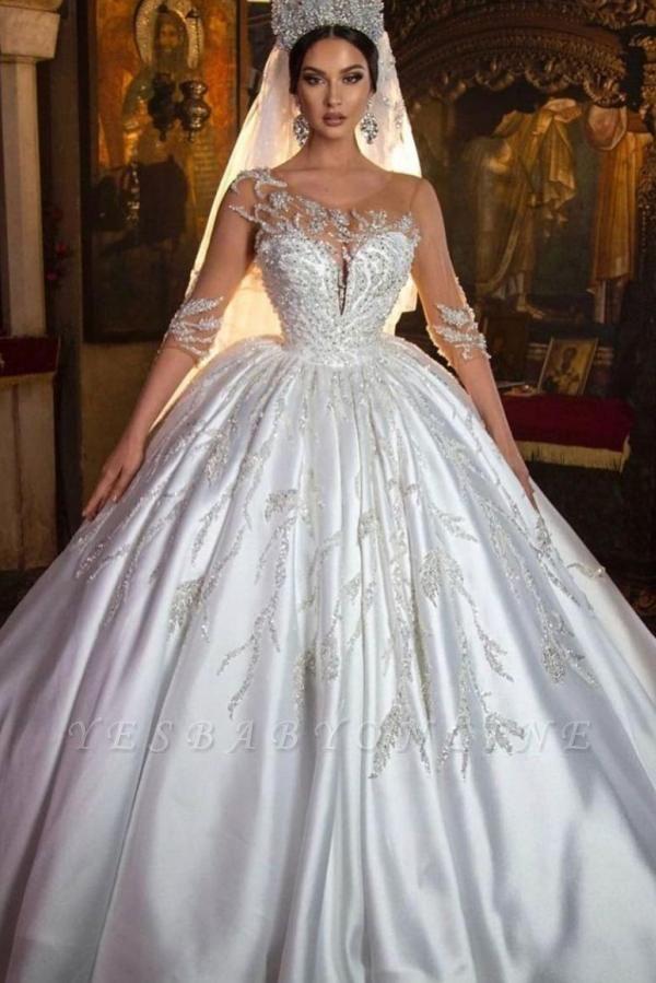 Princess Satin Silver Crystal Wedding Dresses With Long Sleeves