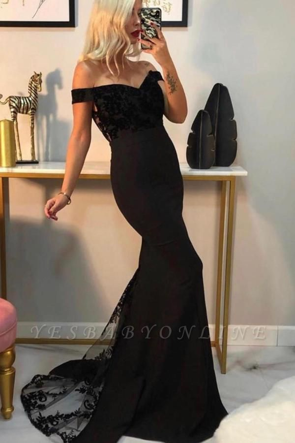 Luxury Off The Shoulder Black Chiffon Lace Mermaid Prom Dresses