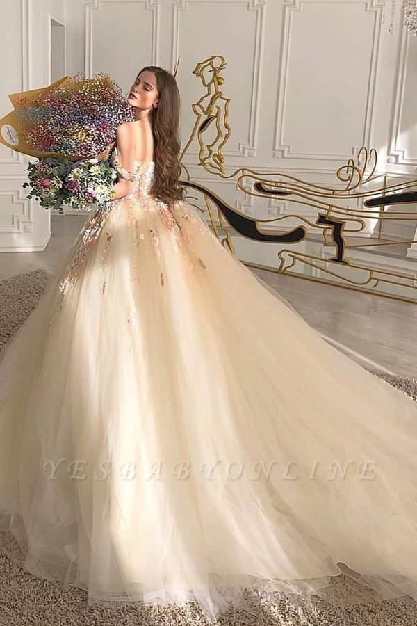 Princess Sweetheart Off The Shoulder Tulle Ball Gown Wedding Dresses With Flowers