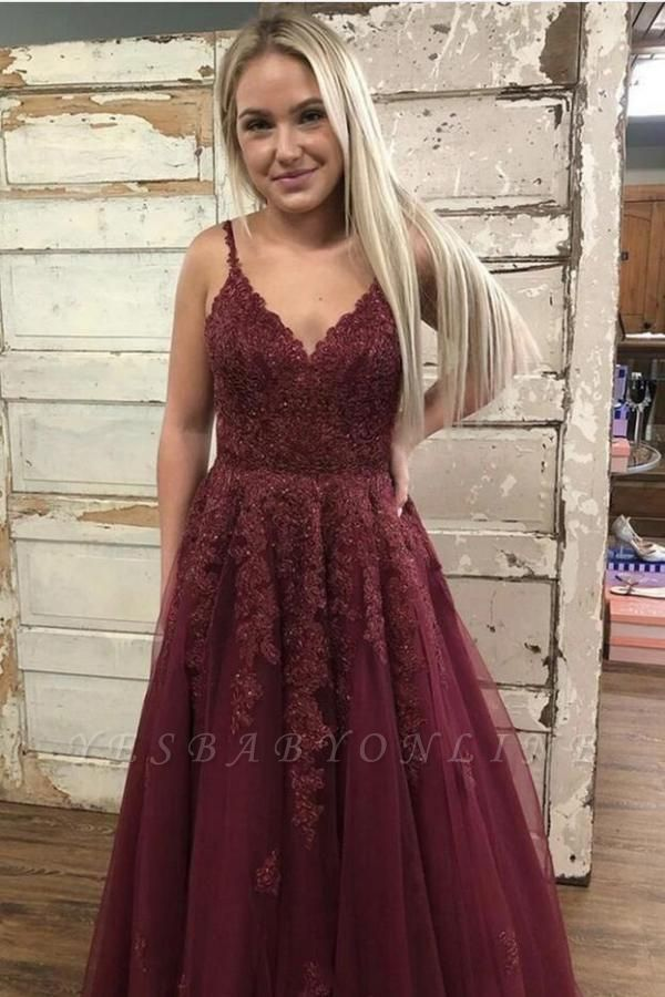 Chic Spaghetti Straps Ruby Tulle Lace Prom Dresses With Appliques