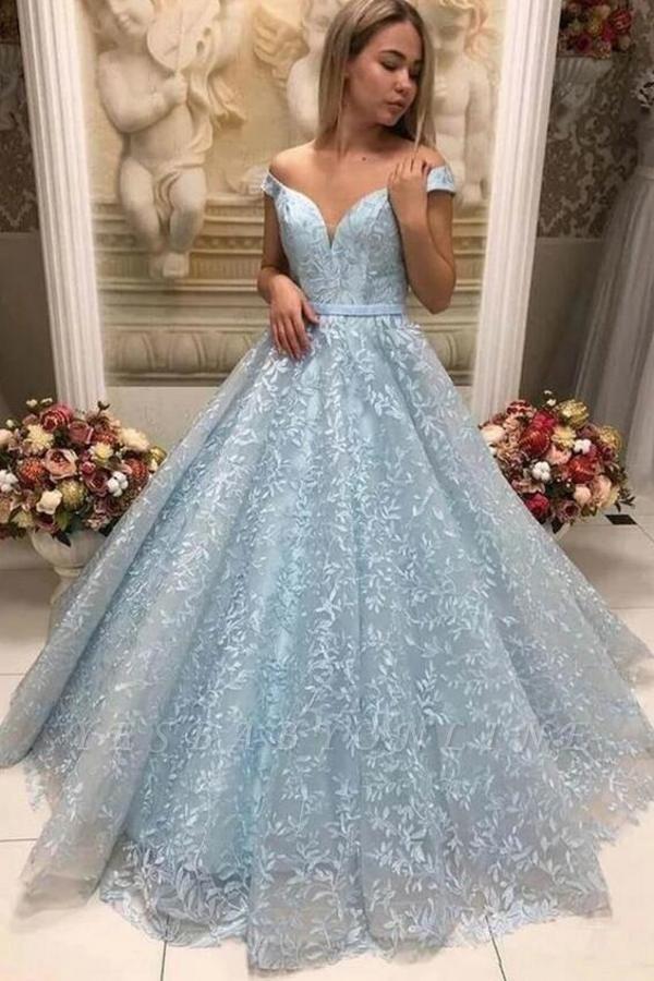 Elegant Off The Shoulder Blue Lace appliques Prom Dresses